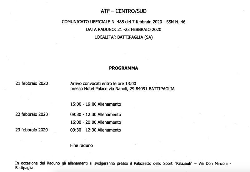 programma convocazione Mattia Antonelli